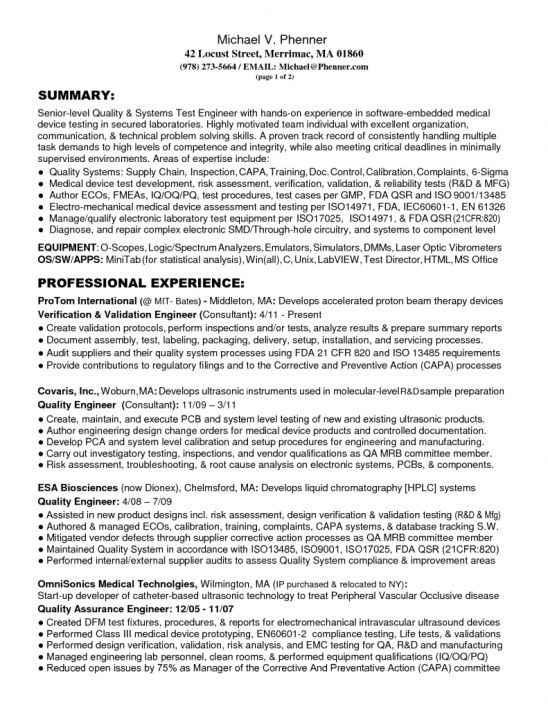 Quality engineer cover letter