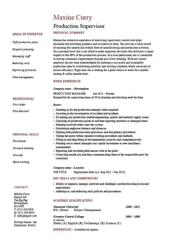 Download Sample Production Resume | haadyaooverbayresort.com