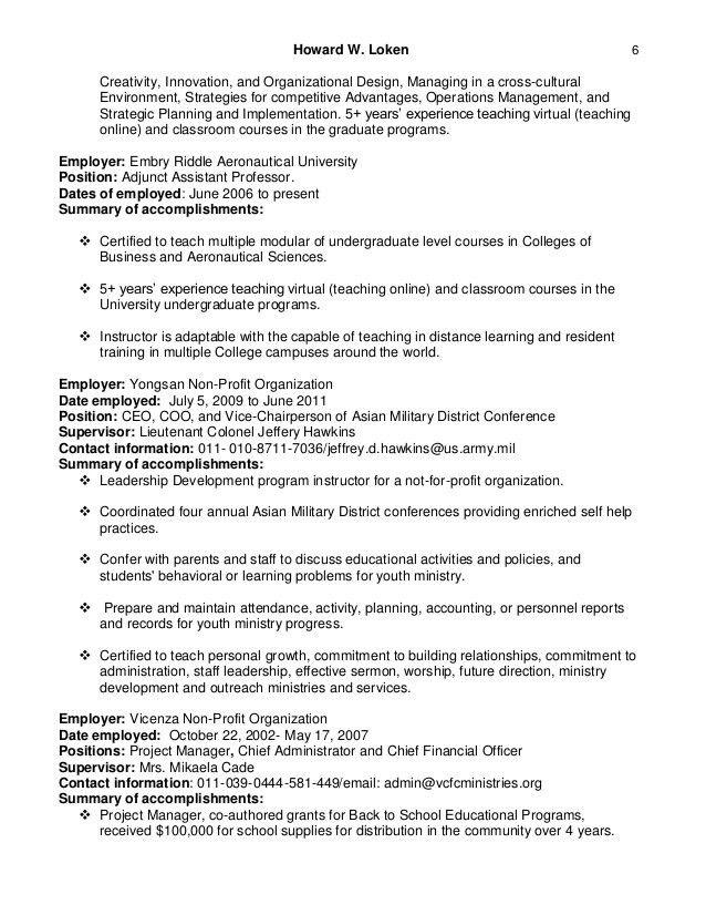 Howard loken's adjunct assistant professor resume 2016