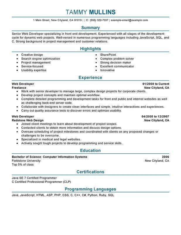 Website Design Resume - Best Resume Collection