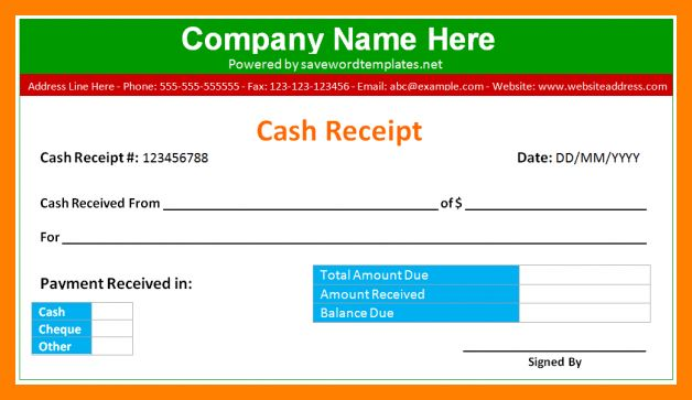 5+ cash receipt format in word | fancy-resume