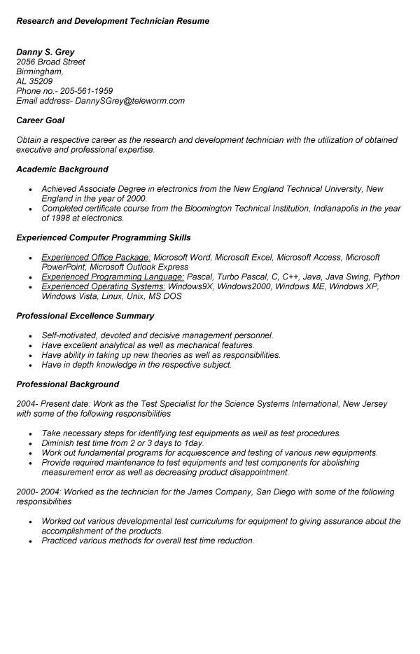 research and development technician resume example. sample lab ...