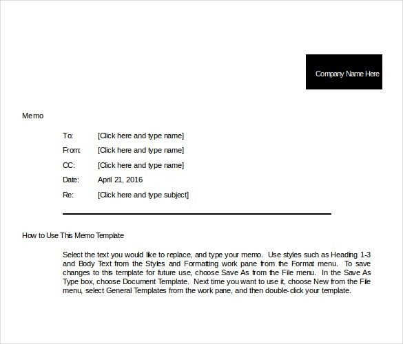 8+ Company Memo Templates – Free Sample, Example, Format Download ...