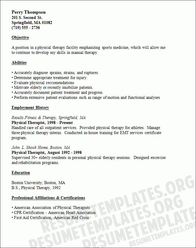 Physical Therapy Assistant Resume | The Best Letter Sample