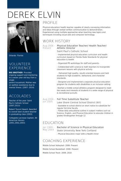 Physical Education Teacher Resume samples - VisualCV resume ...