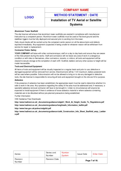 Aerial Installation Method Statement Example to Download