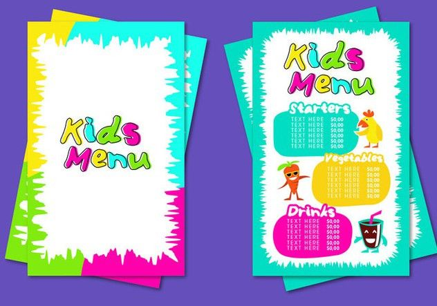 Kids Menu Template Vector Free Vector Download 386577 | CannyPic