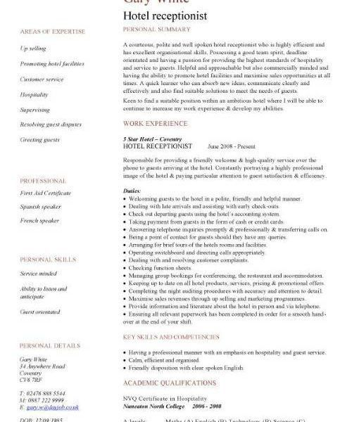 Extremely Inspiration Sample Receptionist Resume 14 Hotel ...