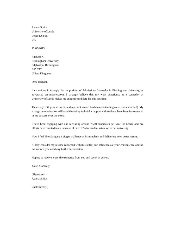 Admissions Counselor Cover Letter Samples and Templates