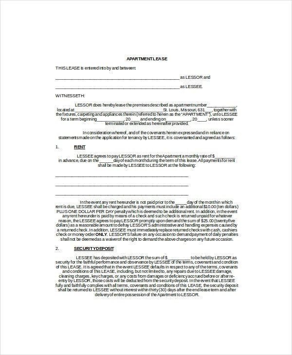 Apartment Lease Template - 3+ Free Word, PDF Documents Download ...