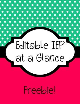 Fully editable and free iep at a glance template use a for Iep at a glance template