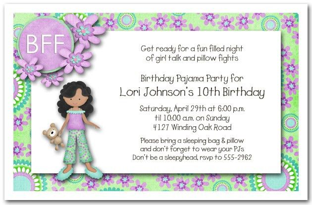 Sleepover Birthday Party Invitations - marialonghi.Com