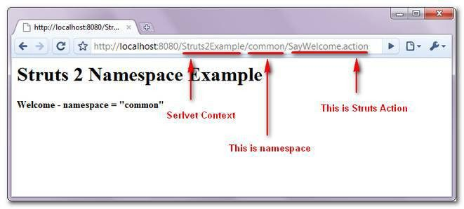 Struts 2 Namespace configuration example and explanation