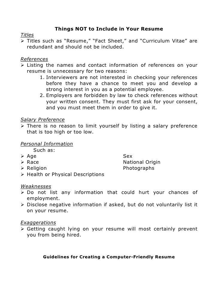 Guidelines For What To Include In A Resume. Good Things To Put On ...