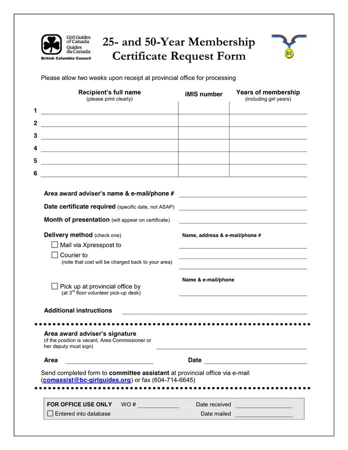 Membership Certificate - download free documents for PDF, Word and ...