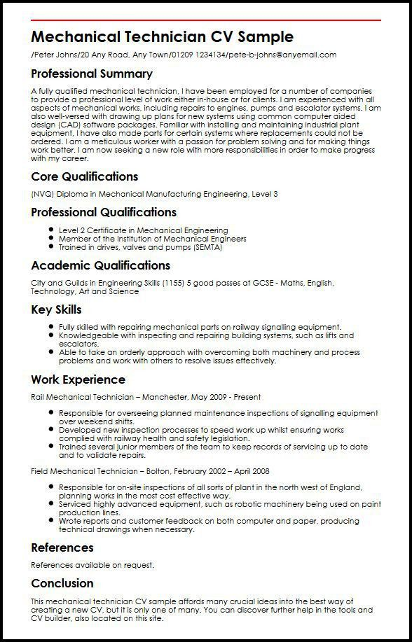 Mechanical Technician CV Sample | MyperfectCV