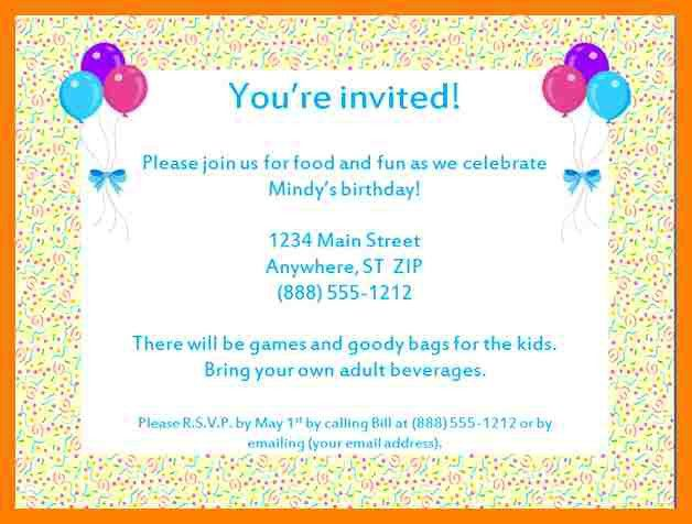 7+ birthday party invitation letter | packaging clerks