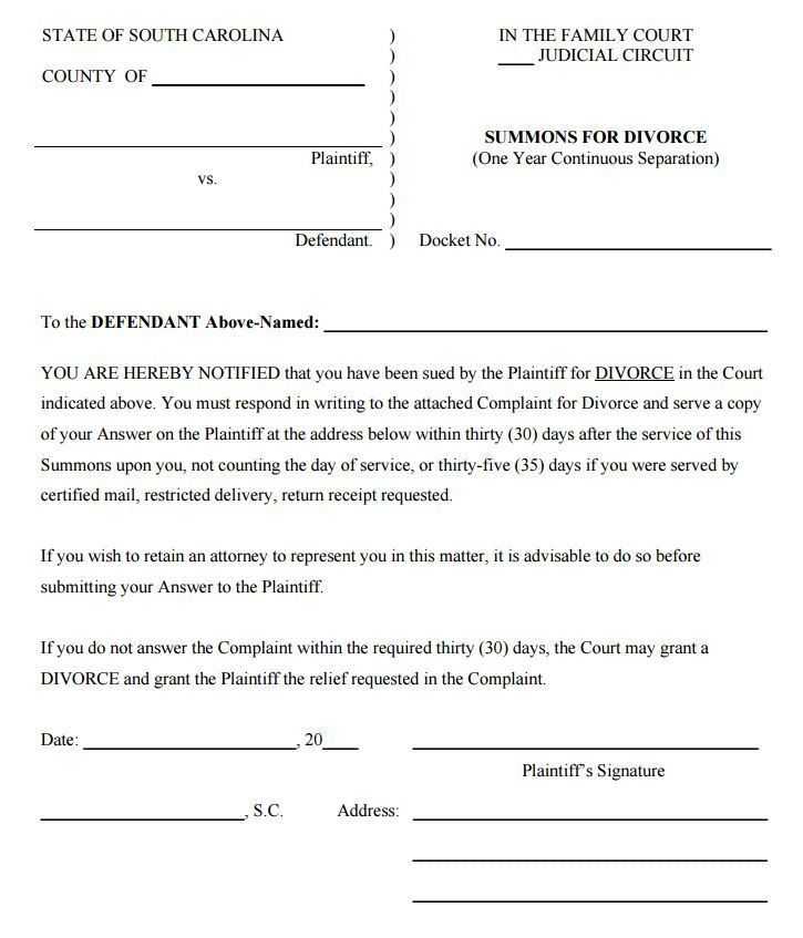 Free South Carolina Summons for Divorce Form | PDF Template | Form ...