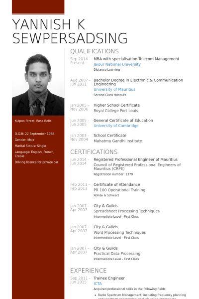 Trainee Engineer Resume samples - VisualCV resume samples database