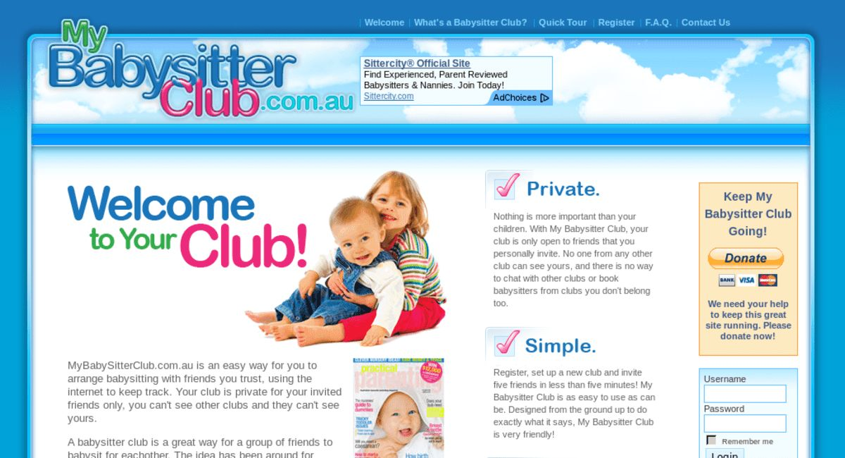 mybabysitterclub.com.au — Website Listed on Flippa: My Babysitter Club