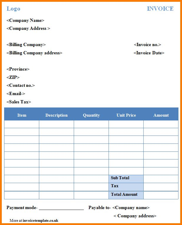 5+ Free Invoice Template Word | Receipt Templates