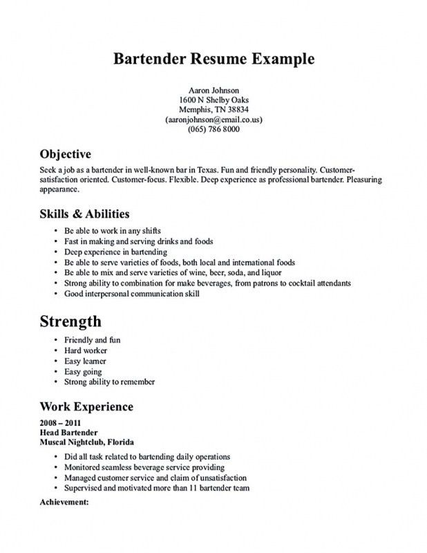 Bartending Resume No Experience 17385 | Plgsa.org