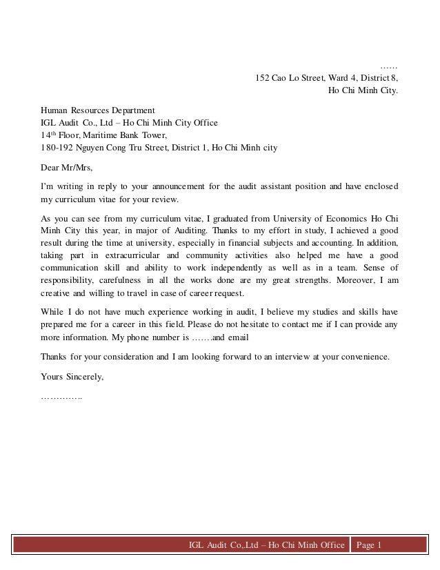 Cover letter & c.v