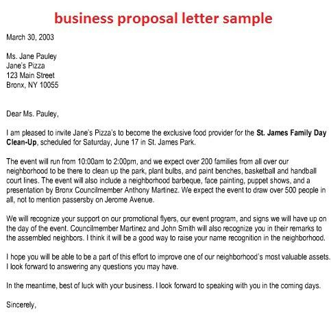 Business Proposal Letter Sample. Sample Of Informal Proposal ...