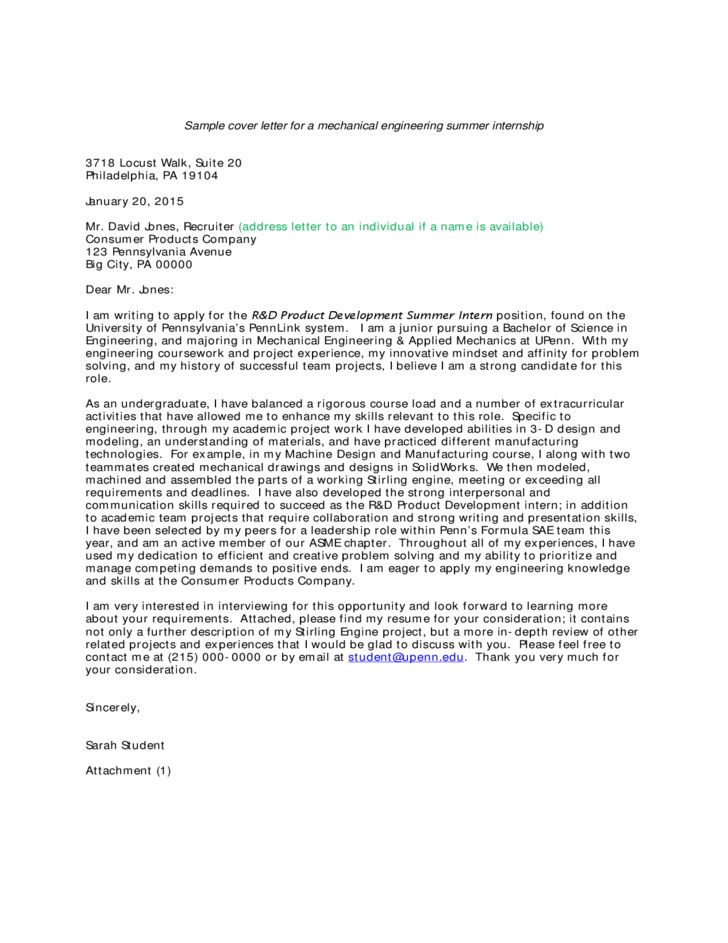 Sample Cover Letter for a Mechanical Engineering Summer Internship ...