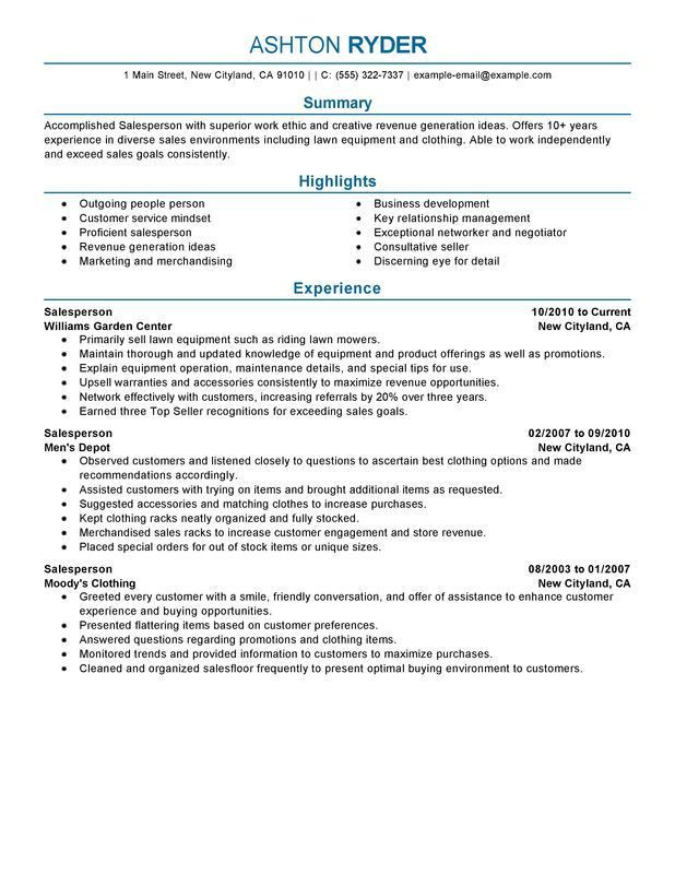 Unforgettable Salesperson Resume Examples to Stand Out ...