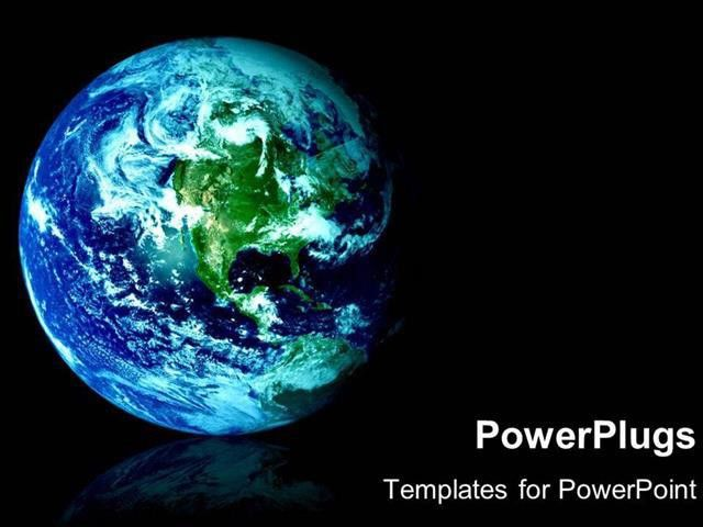 PowerPoint Template: space view of blue and green world as a globe ...