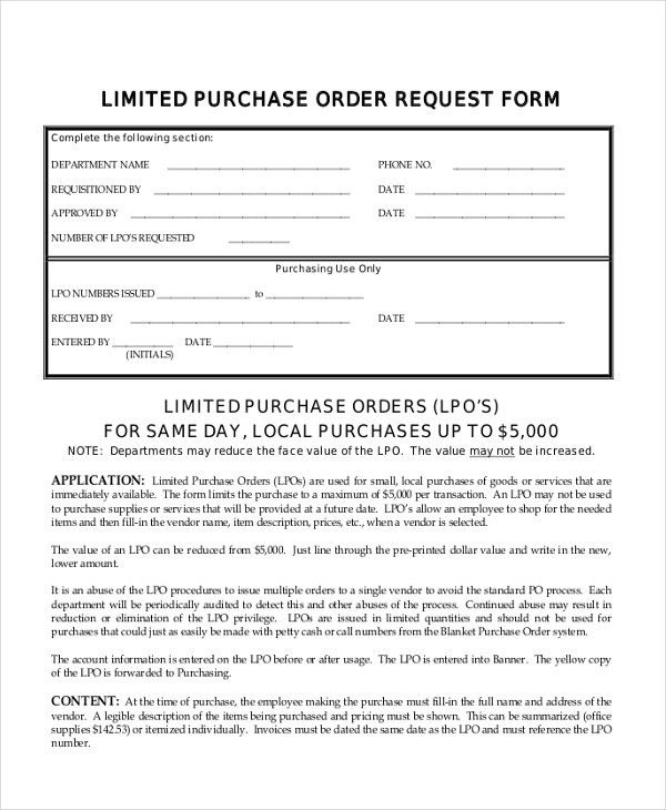 Sample Local Purchase Order Purchase Order Template Purchase Order