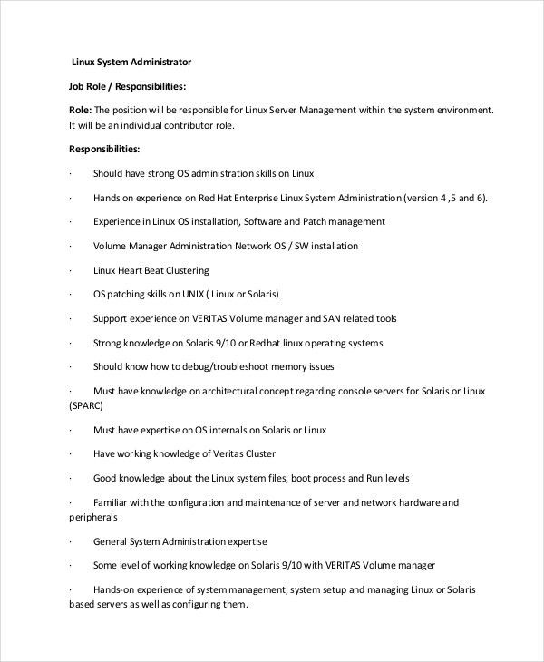 System Administrator Job Description. Linux-System-Administrator ...
