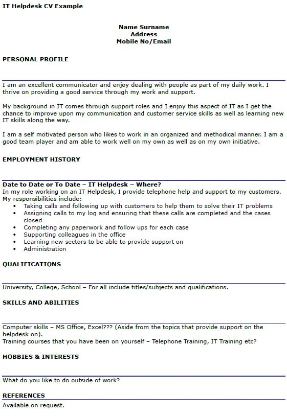 IT Helpdesk CV Example - icover.org.uk