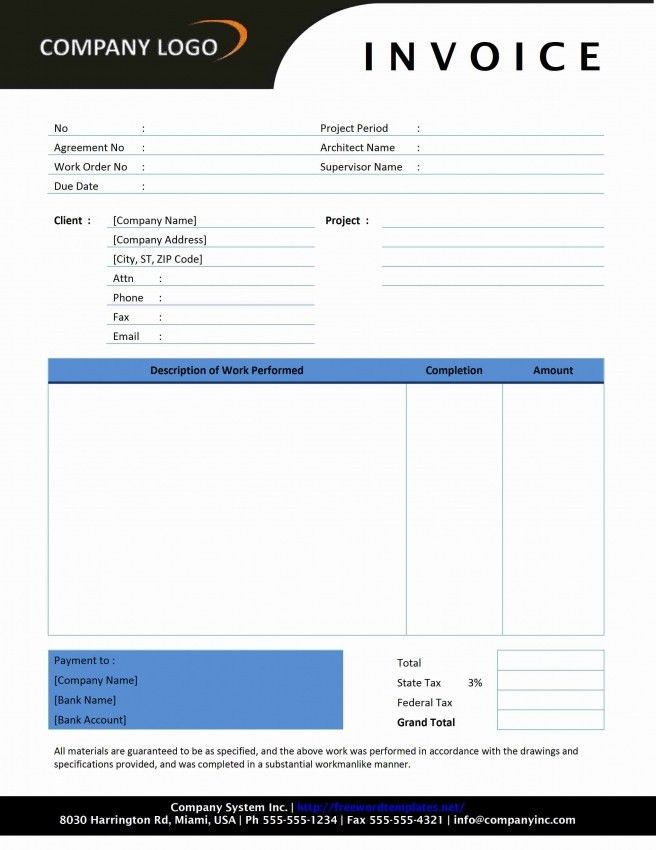 Word Invoice Template Doc | Design Invoice Template