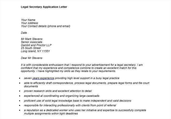 Application letter for a legal secretary