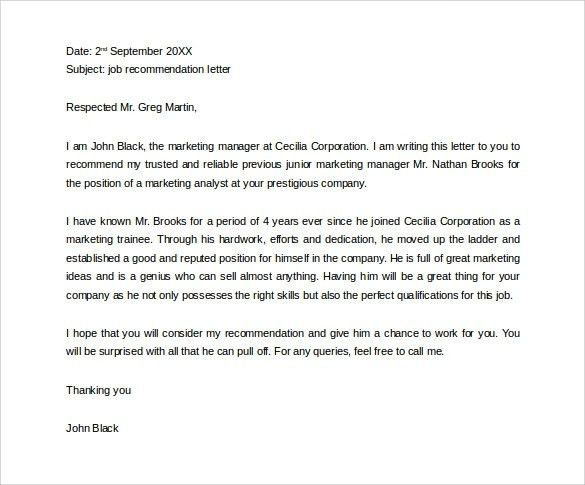 Letter Of Recommendation For Friend | Template Design