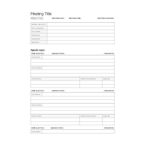 Free Templates for Business Meeting Minutes - free corporate ...