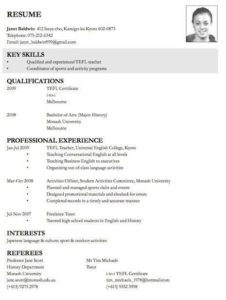 Excellent Resume Sample | Free Resumes Tips