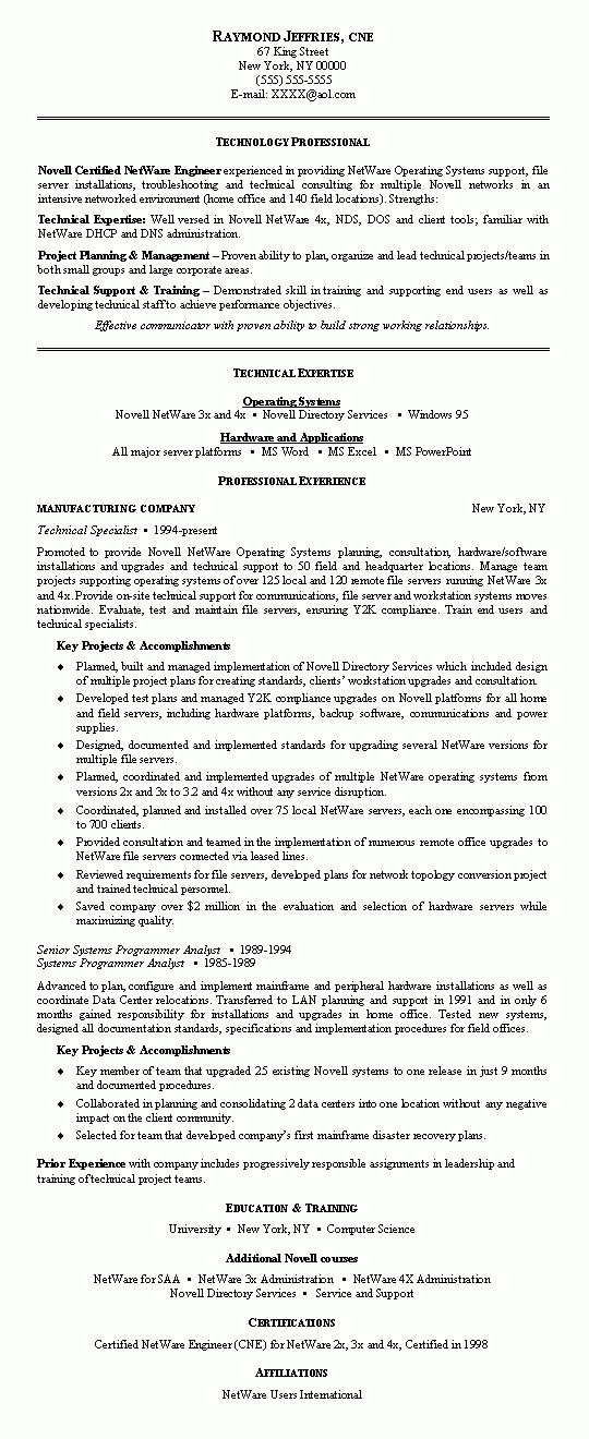 Network Engineer Resume Example | Resume examples and Sample resume