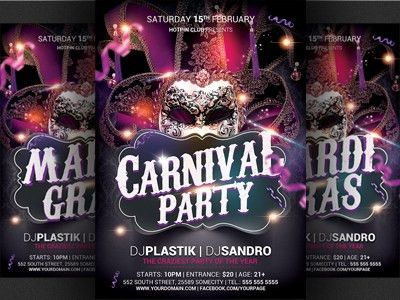 Carnival n Mardi Gras Party Flyer Template by Christos Andronicou ...
