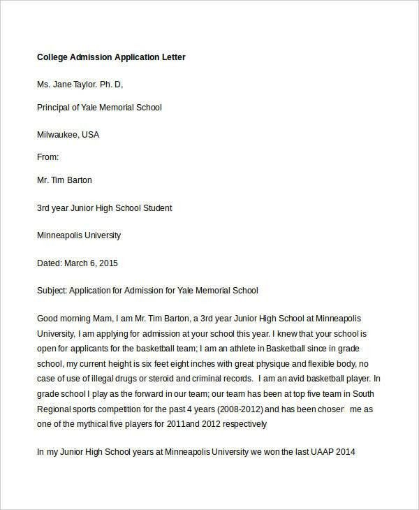 College Application Letter Templates - 9+ Free Word, PDF Format ...