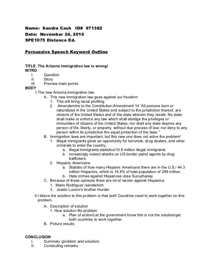 Speech Format. Individual Persuasive Speech Outline Template ...