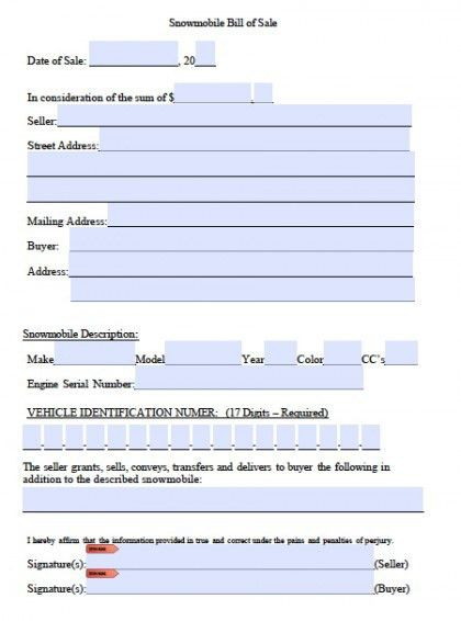 Free Snowmobile Bill of Sale Form | PDF | Word (.doc)