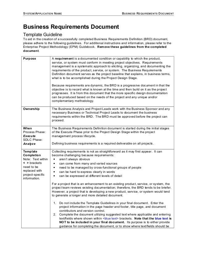 Business Requirements Template | Free Business Template
