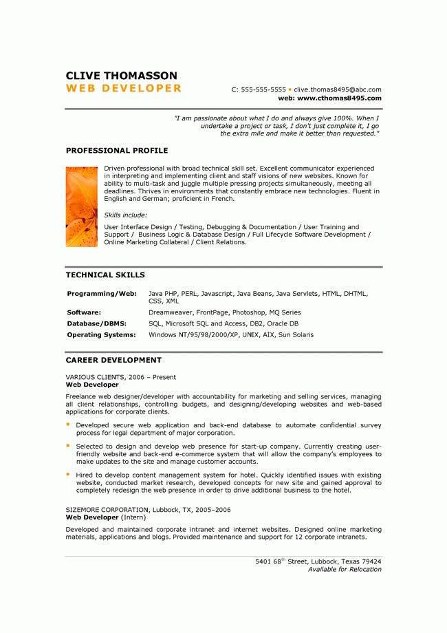 Excellent Web Developer Resume Template with Capabilities Profile ...