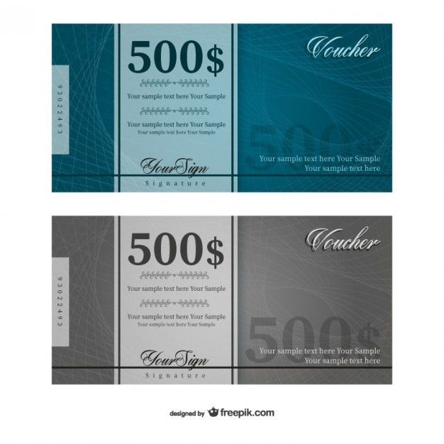 500 Dollars voucher template vector Vector | Free Download