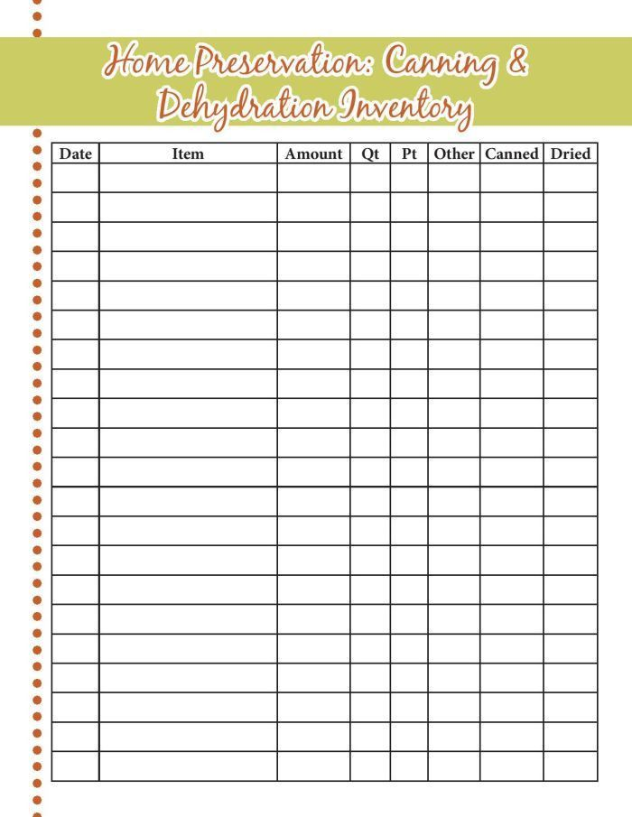 Food Storage Inventory Sheets - A Proverbs 31 Wife
