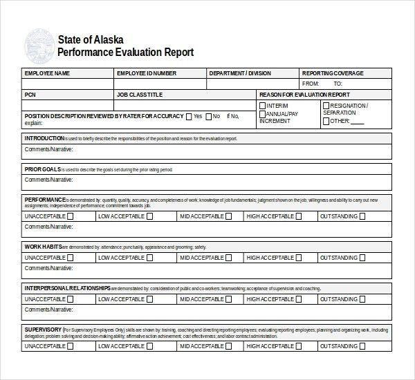 10+ Sample Performance Evaluation Forms | Sample Forms