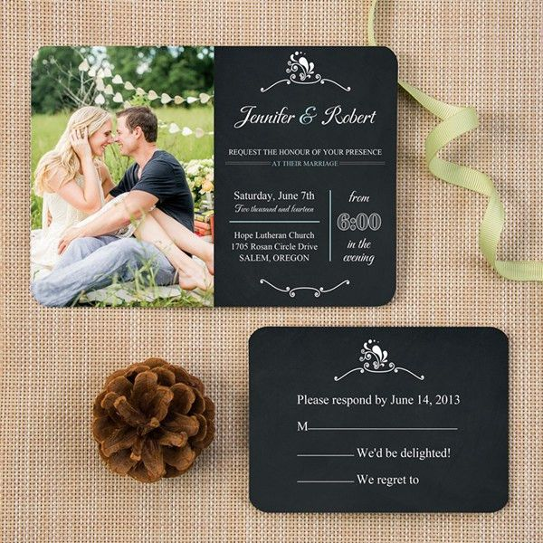 photo chalkboard wedding invitation ticket shape romantic ...